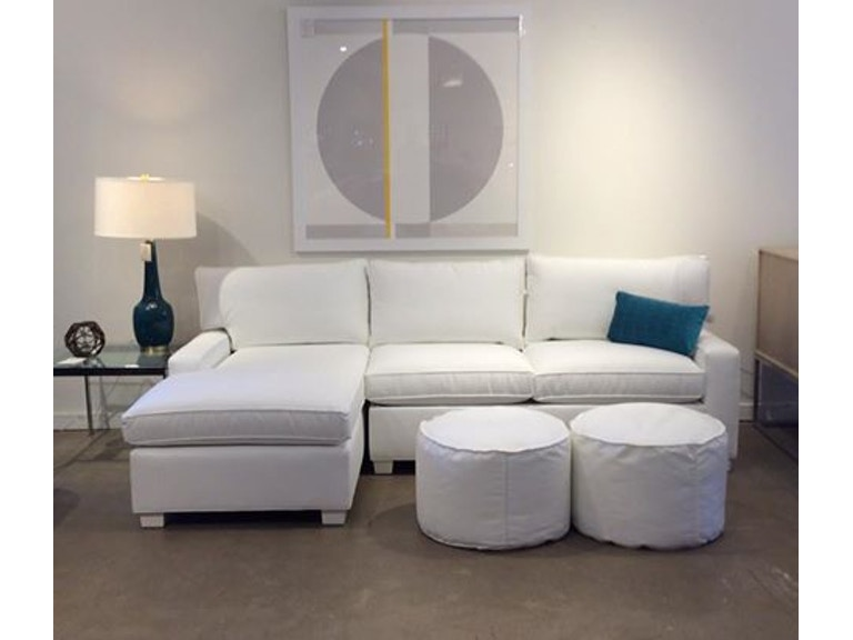Mitchell Gold + Bob Williams Factory Outlet Living Room 2pc sectional with full sleeper in Essential-White. 102 x 59 (SKU: Alex-7)